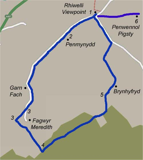 Rhiwelli Viewpoint Map
